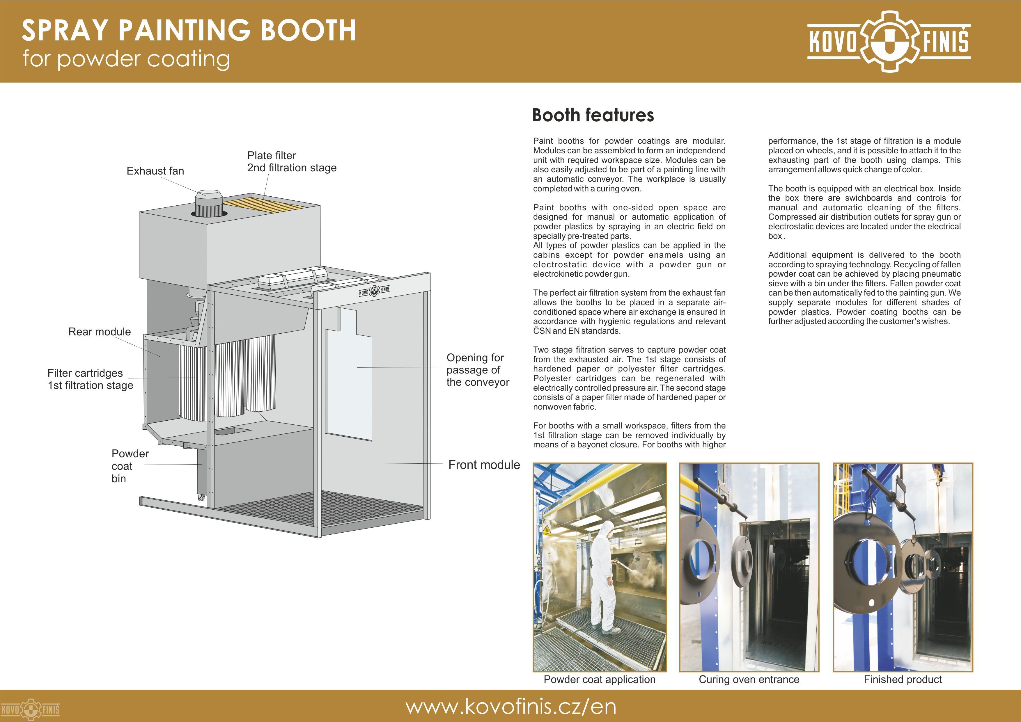 Table and floor paint booths kovofini surface for Powder coating paint booth