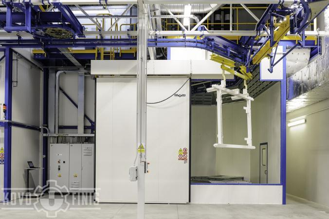 Paint coating line for truck bodies