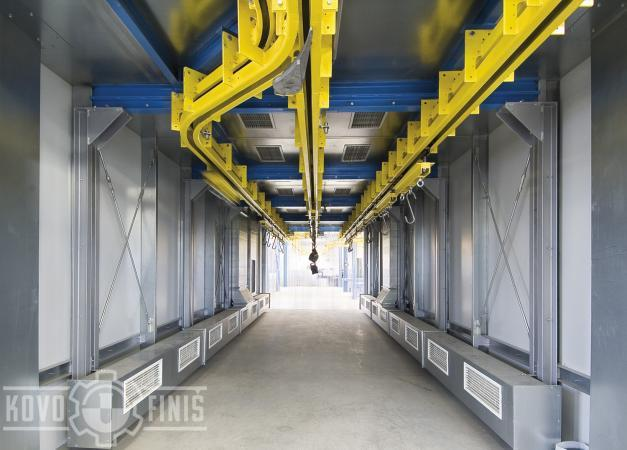 Paint coating line for gearboxes