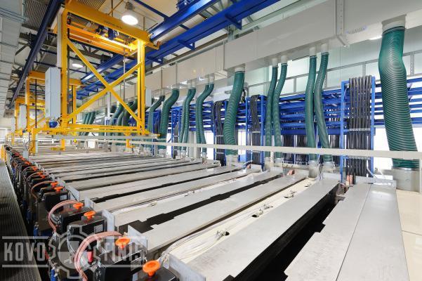 Rack line with three conveyors